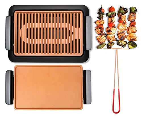 GOTHAM STEEL Smokeless Electric Grill, Griddle, and Pitchfork, Indoor BBQ and Nonstick As Seen On TV...