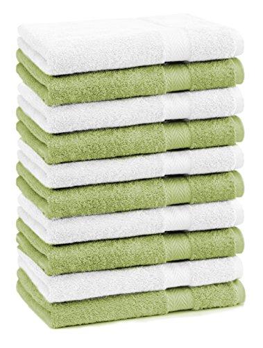 Betz Lot de 10 Serviettes débarbouillettes lavettes Taille 30x30 cm en 100% Coton Premium Couleur Vert Pomme et Blanc