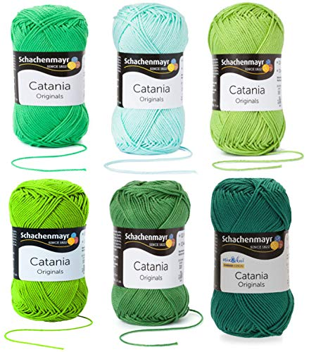 6x50 Gramm Schachenmayr Woll-Set Baumwollgarn Catania zum Stricken und Häkeln inkl. detallierter Anleitung für EIN Meerschweinchen (Grün Mint C51)