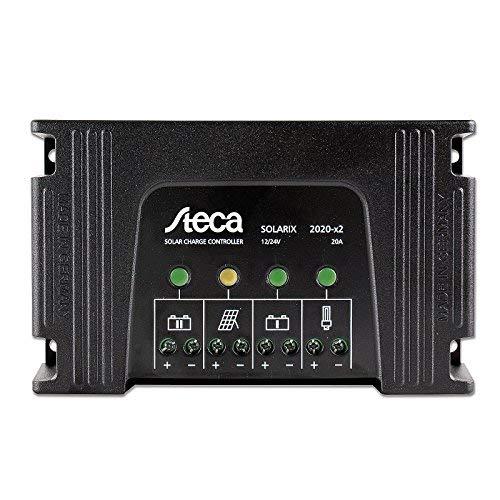 Steca Solarix 20 A controlador de carga solar de doble batería para cualquier combinación de dos baterías de 12 V/24 V para entrada solar de hasta 320 W (12 V) / 640 W (24 V)