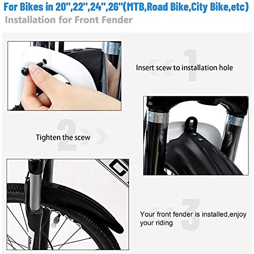CHB Mud Guards For Mountain Bike Fenders Mountain And Road Bike Mudguard Set Road Bicycle Adjustable For 24-28