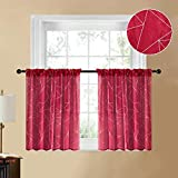 YOKISTG Sheer Kitchen Curtains 36 Inch Length Rod Pocket Printed Geometry Tier Curtains for Cafe Bathroom Basement Small Window, Red, 2 Panels
