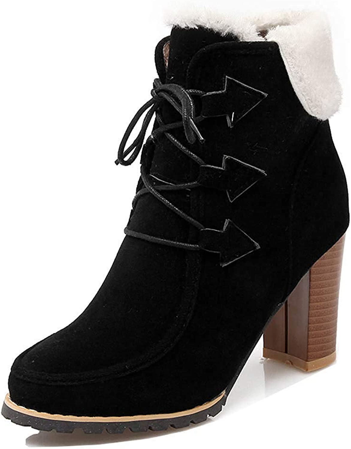 Unm Women's Stylish Cuffed Lace Up Round Toe Short Boots High Stacked Heel Ankle Booties