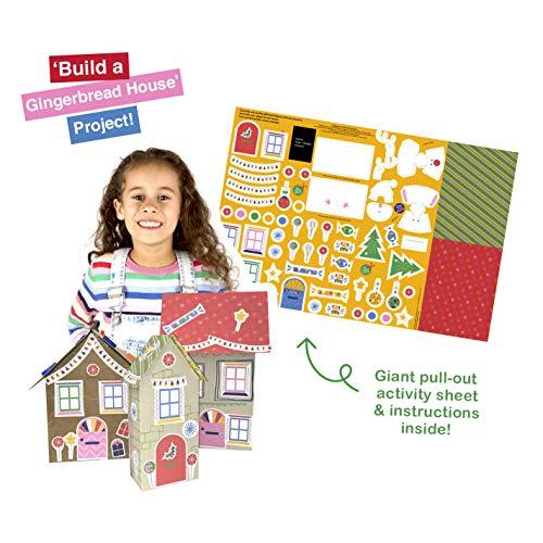 Kerst Recycle, maken en spelen activiteitenkaart van Hallmark - Build A Gingerbread House Design