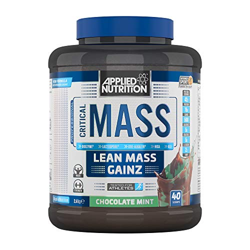 Applied Nutrition Critical Mass Protein Powder High Mass Gainer, Serious Weight Gain Supplement with BCAA, HMB, Glutamine, Leucine, Creatine, 2.4kg - 16 Servings (Chocolate Mint)
