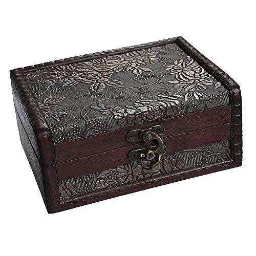 Cofre pirata 28x21x21cm marrón madera aspecto antiguo caja almacenamiento baúl