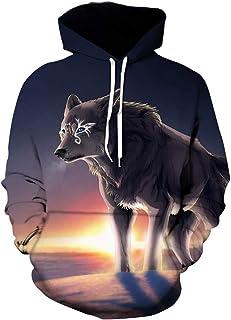 Mr.BaoLong&Miss.GO Men Personalized Sweater Wolf Sweater Hooded Sports Sweater Men Fashion Sweatshirt
