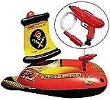 QDWRF Juguete De Agua De Verano, Barco Pirata Inflable Acción De Barco Ejector Ride Piscina Infantil Anillo De Natación Flotante Colchón De Aire Juguetes De Agua para Niños