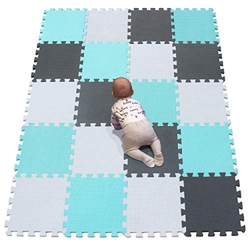 YIMINYUER Esterilla Puzzle de Fitness 30x30x1cm Suelo de Gimnasio de Goma Espuma EVA Blanco Verde Gris R01R08R12G301020
