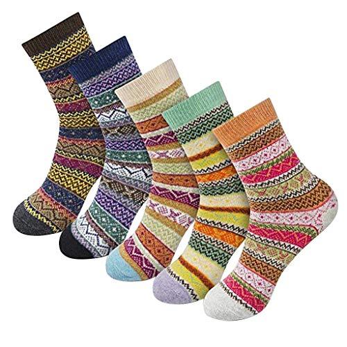Huacat 5 Paar Damen Winter Wollesocken, atmungsaktive weiche dicke Socken - bunte Farbe Premium Qualität Warm Socken