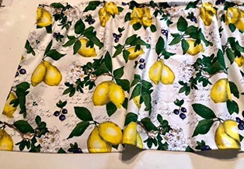 "Lemons, Blueberries, Window Curtain Valance, 42"" W x 15"" L"