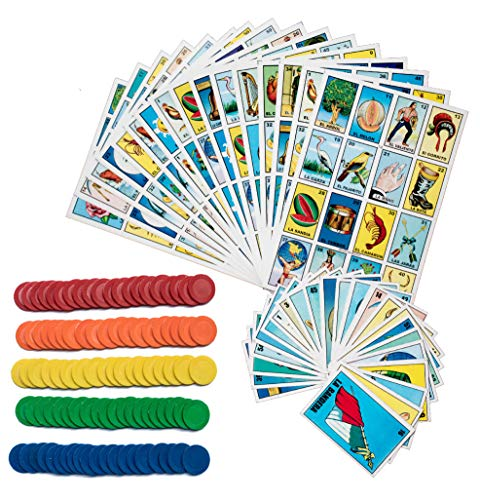 Loteria Mexican Bingo Game Kit - Loteria Mexicana Bingo Game for 20 Players - Includes 1 Deck of Cards and Boards - with 100 Bingo Chips - for The Entire Family - Great for Learning Spanish.
