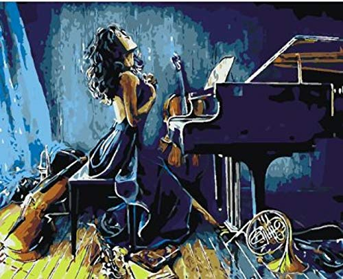 Thfff Dark Piano Queen Schilderen door nummers DIY olieverfschilderij Art woonkamer wanddecoratie landschap figuur dier bloem cartoon Avec Cadre 40x50cm