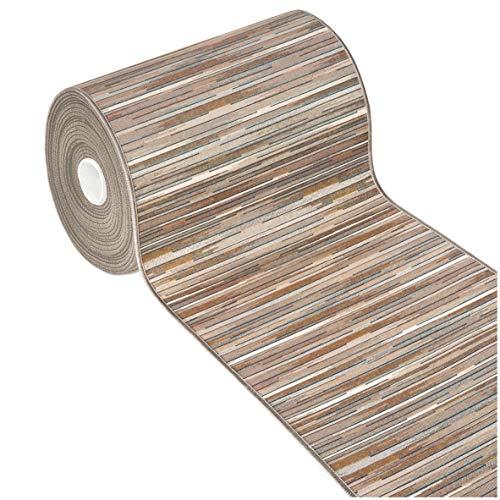 Tappeto Cucina Bordato Tessitura Piatta Multiuso Bagno Camera Corridoio Stile Bamboo Varie Misure 100% Made in Italy MOD.Chalet Plus 51 52X240 Beige