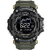 SMAELBand Herren Uhr Military Wasserdicht Sport Uhr Armee LED Digital Armbanduhr Stoppuhren für Männer 1802,Army Green