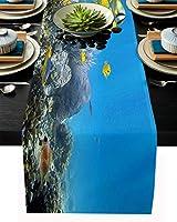 テーブルランナー 魚 海洋 生物 珊瑚 青い テーブルクロス お食事マット プレースマット おしゃれ インテリア 食卓飾り 滑り止め 欧風 無地 おもてなし パーティー ホームデコレーション 33x229cm