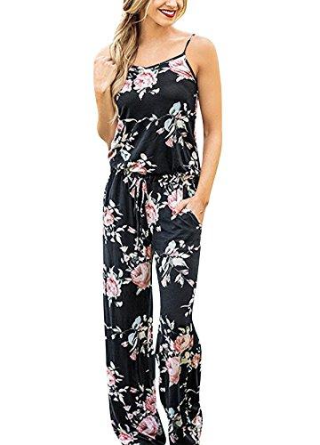 Yidarton Sommer Floral Bedruckte Jumpsuit Damen Halfter ärmellose breite Lange Hosen Jumpsuit Strampler, Schwarz, XL