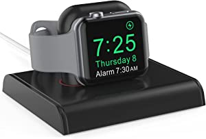 Delidigi iWatch Charging Stand Dock ABS Desktop Charger Holder Accessories [Adapter NOT Included] Compatible with Apple Watch Series SE/6/5/4/3/2/1(44/42/40/38mm), Supports Nightstand Mode (Black)