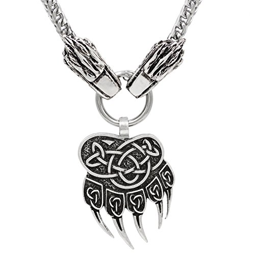 3D Viking Steampunk Wolf Head With Thor's Hammer Mjolnir Scandinavian Pagan Fenrir Nordic Bear Paw Claw Pendant NECKLACE - Stainless Steel Chain