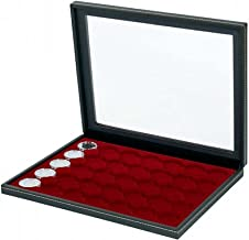Lindner 2367-2935E Coin case NERA M PLUS with dark red insert with 35 ound compartments for coin capsules with external Ø 34 mm, e.g. for 5 EURO coins GERMANY in LINDNER coin capsules