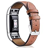 Hotodeal Replacement Leather Band Compatible for Charge 2, Classic Genuine Leather Wristband Metal Connector Watch Bands, Fitness Strap Women Men Small Large (Brown- Silver Buckle)