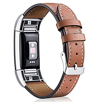Hotodeal Replacement Leather Band Compatible for Charge 2 Classic Genuine Leather Wristband Metal Connector Watch Bands Fitness Strap Women Men Small Large  Brown- Silver Buckle
