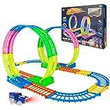 HOMCENT Juego de tren para niños con coche de juguete LED, juego de vehículos para niños y niñas