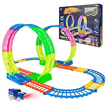BeebeeRun Kids Race Car Track Sets Flexible Train Tracks for Toddlers with LED Toy Car Glow in The Dark Race Track Vehicle Playset for Boys and Girls