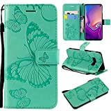 Aralinda Funda de piel sintética con función atril para Samsung Galaxy S10e, diseño de flores y mariposas, color verde
