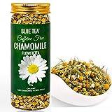 Té azul – té de manzanilla | brotes de flores enteras puras de manzanilla | té de hierbas calmante y relajación en botella de plástico PET de grado alimenticio|50 g – 100 tazas |