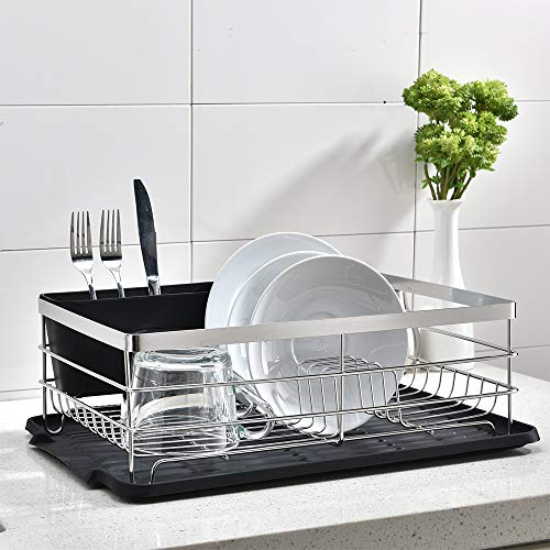 Popity home Dish Rack,Dish Drying Rack with 304 Stainless Metal Double Sturdy for Kitchen Sink Side Kitchen Counter Top Black Drainboard Draining Drain with Utensil Holder Three Piece Set