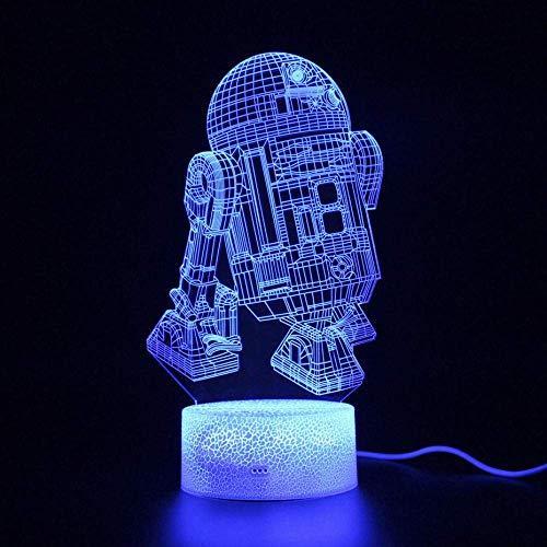 Magische 3D Laterne LED Nachtlicht Kinder Geschenk Schlafzimmer R2D2 Projektion Fernbedienung Schreibtischlampe Party Dekoration Kinderzimmer Dekoration mit Schlaflicht 16 Farben
