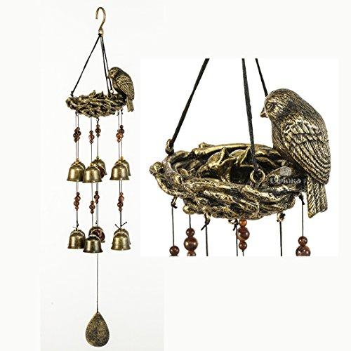 BWinka Neueste Vögel und Nest Wind Glockenspiel 12 Stück Bronze Glocken Amazing Grace Wind Chimes für Garten, Hof, Patio und Home Decor