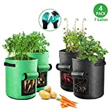 OneBom 7 Gallon Grow Bags 4 Pack, with Garden Gloves, Planting Growing Bags Container forPotao Tomato Garlic (2 Green + 2 Black)