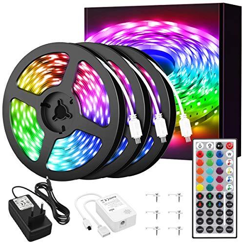 NOWES 15M RGB LED Streifen Musik Synch, LED Strip mit Fernbedienung, Farbwechsel Dimmbar Lichterkette 450er 5050 LEDs Lichtband mit 24V Netzteil für Zuhause, Schlafzimmer, Küche, Partydekoration