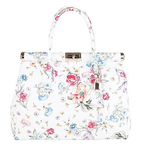 Chicca Borse Handbag Borsa a Mano da Donna con tracolla in Vera Pelle Made in Italy 35x22x15 Cm