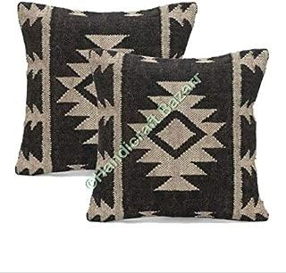 Handicraft Bazar Vintage 2 PCs 18x18 inch Sofa Throw Pillow Case,Ethnic Rustic Kilim Cushion Jute Rug Cushion Cover Boho Pillow Turkish Kilim Pillow Cover Chair Pillow Small