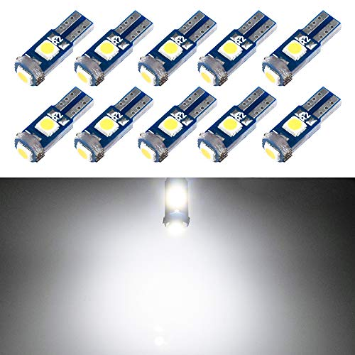 T5 LED Bulb Dashboard Dash Lights White 6000K 3030 SMD Wedge Base for Car Truck Instrument Indicator Air Conditioning AC Lamp Auto Interior Accessories Kit Bright 12V 1W Pack of 10【1797】