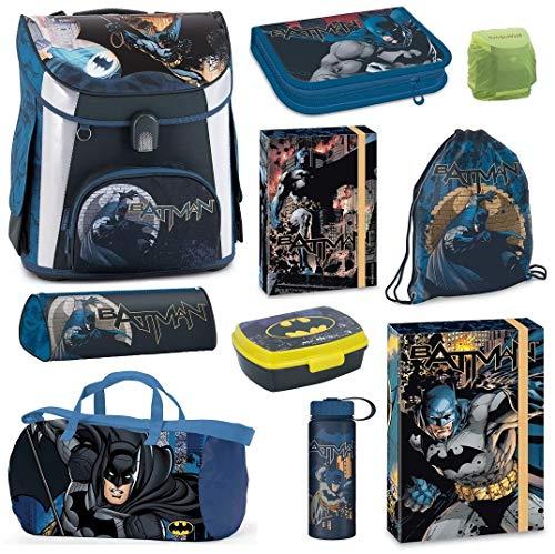 Familando Batman Schulranzen-Set 10tlg. Turnbeutel Federmappe Dose Flasche Sporttasche blau Regenschutz