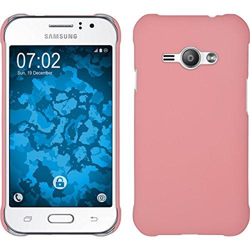 PhoneNatic Custodia Rigida Compatibile con Samsung Galaxy J1 Ace - gommata Rosa - Cover + Pellicola Protettiva