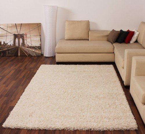 Paco Home Shaggy Creme Hochflor Langflor Teppich Uni Ivory TOP Preis NEU*, Grösse:60x100 cm