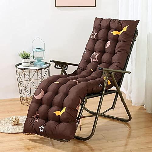 XCTLZG Cojines gruesos con correas antideslizantes, alfombrilla de asiento de algodón premium, almohadillas de silla reclinable para interiores y exteriores, jardín, vacaciones, silla de relax