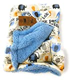 Chick Pea Baby Blue Marching Elephants Forest Soft Mink Printed Blanket with Sherpa Backing