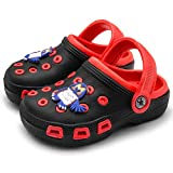 Mictchz Toddler Little Kids Clogs Slip On Girls Boys Garden Clogs Summer Non-Slip Lightweight Slide Sandals Shoes Pool Shower Beach Slippers Black/Red