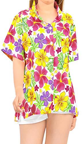 LA LEELA Partido de Las Mujeres Ropa de Playa clásica Camisa Hawaiana Aloha Verano Regulares Informal XXL - ES Tamaño :- 50-52 Rosa_AA152