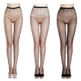 Fishnet Stockings Sexy Net Pantyhose Womens Mesh Tights (Pack of 3) (Black)