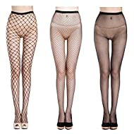 Fishnet Stockings Sexy Net Pantyhose Womens Mesh Tights (Pack of 3)