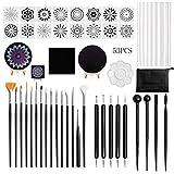 ZJL220 53 piezas Mandala Dotting Tools Set para la pintura Rock Acrílico Stick Plantilla Template Drill Pen Caballete Kit