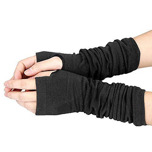 Allywit Women's Knitted Arm Warmer Gloves Warm Long Fingerless Mittens with Thumb Hole Gloves (Black) Photo #2