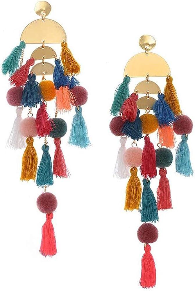 Long Tassel Earrings Statement Fringe Drop Bohemian Earrings Big Dangle for Women Fashion